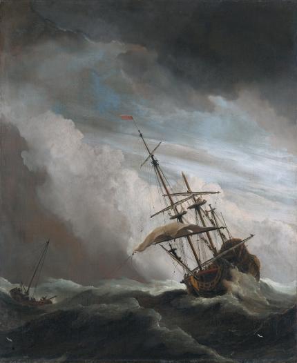 De_Windstoot _-_ A_ship_in_need_in_a_raging_storm_ (Willem_van_de_Velde_II, _1707)