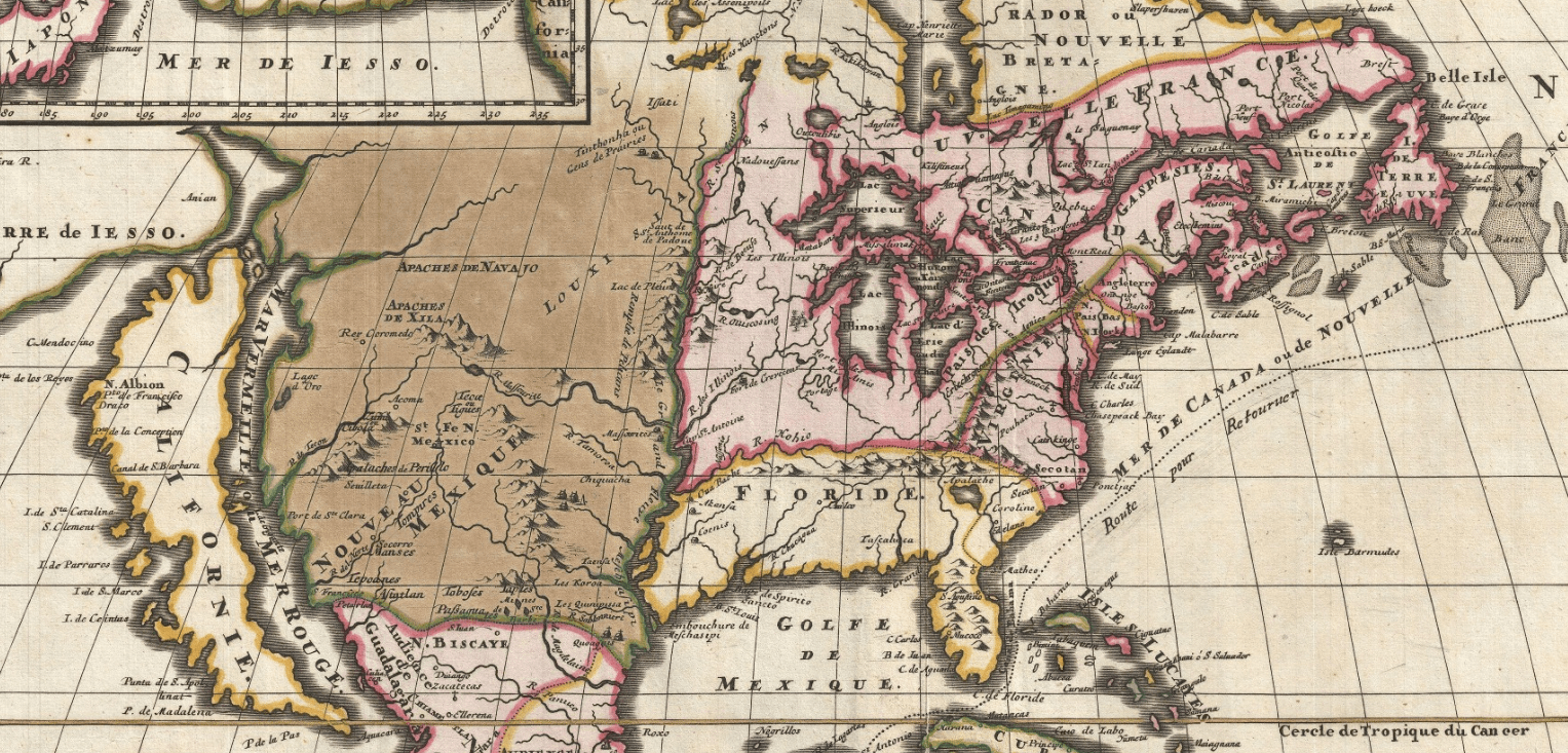 1698 North America map Louis Hennepin